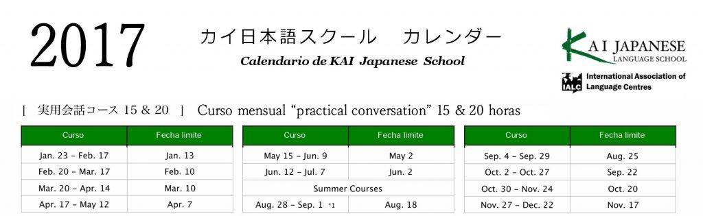 fechas mensual 2017